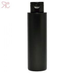 Black plastic bottle with flip-top cap, 250 ml